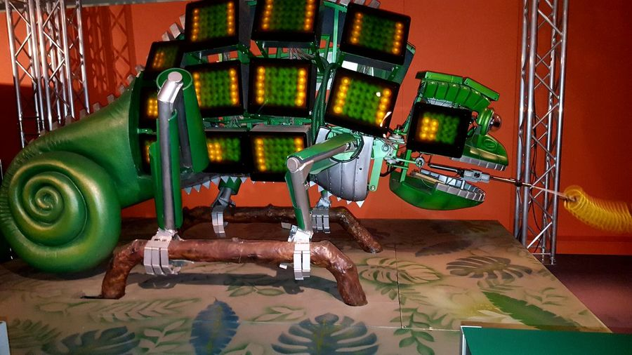 Robot chameleon. Green Color No People Multi Colored Close-up Sculpture Animal Themes Ayeshea Bah EyeEm Gallery London Fresh On Eyeem  Robot Zoo Hornimanmuseum Insects Of Eyeem Screens Robot Platypus
