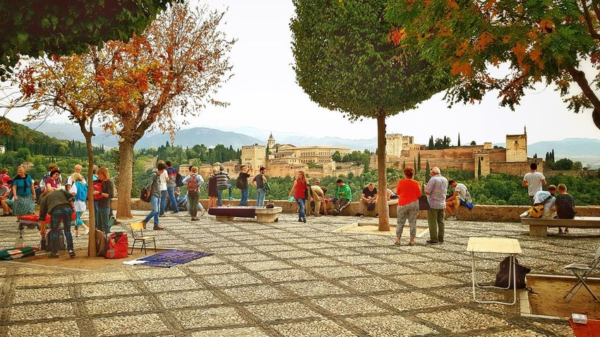 Outdoors Day People SPAIN Europe City panorama Balcony Granada Alhambra (Granada) Spanish Site Siteseeing Nicolas town UNESCO World Heritage Site Moorish Building Tree Large Group Of People Adults Only Celebration Adult