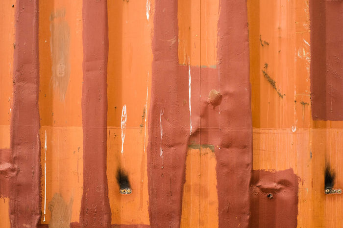 Containers color orange, brown texture background Container Orange Backgrounds Brown Close-up Color Corrugated Iron Day Full Frame No People Orange Color Outdoors Pattern Steel Textute Wood - Material