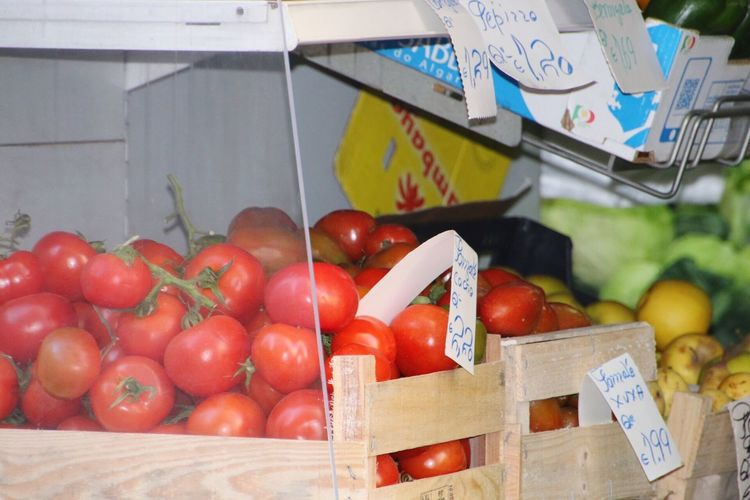 Close-up of tomatoes in box