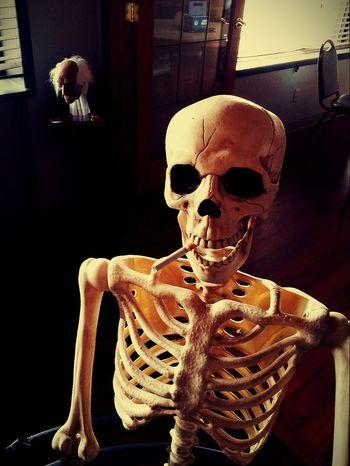 Need a light? Human Skeleton Human Skull Skeleton Spooky Halloween Workplace Bar Restaurant