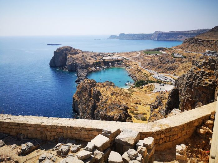 View from the acropolis of Lindos Colorful Water Sea Sunlight Rock - Object Clear Sky Sky Horizon Over Water
