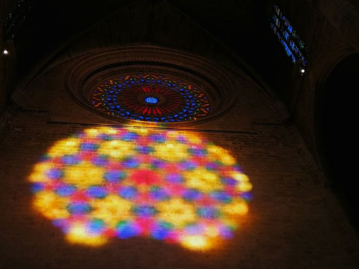 The Eight of Light Indoors  Multi Colored No People Close-up Day Cathedral Mallorca Palma De Mallorca Rosettechurch Rosette  Colors Colorful Church Optical Illusions Window Dawn Sunlight Silhouette Sunrise Effect Light 8 Eight Picoftheday Picoftheweek