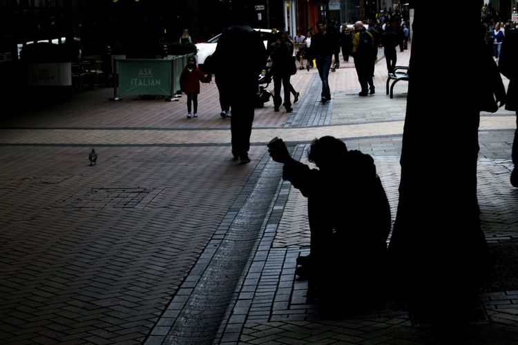 Silhouette Street Full Length Adult Outdoors City Birmingham 50mm Digitalphotography Contrast Tones Streetphotography Candid Real People Homeless Man