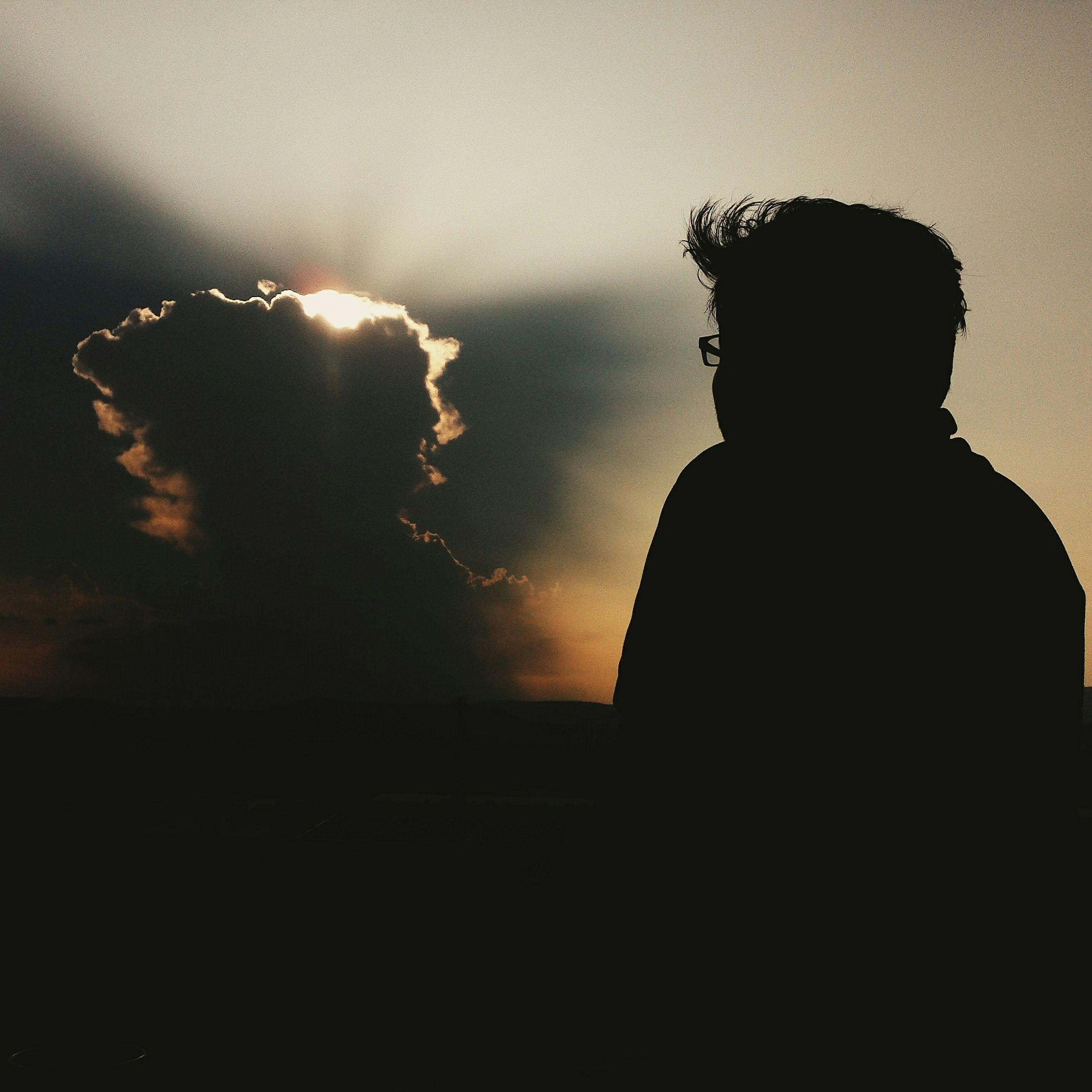 silhouette, sky, dark, cloud - sky, dusk, copy space, night, sunset, statue, cloudy, rear view, nature, lifestyles, outdoors, leisure activity, men, tranquility, outline