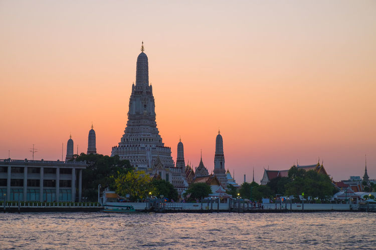 View of temple against sky during sunset