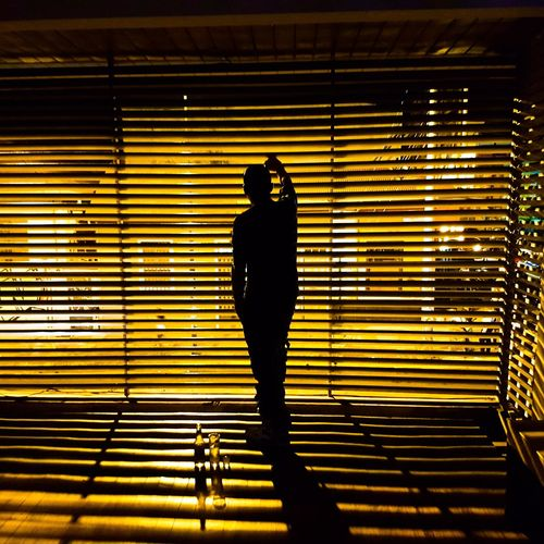 Rear View Of Silhouette Man Looking Through Window Blinds