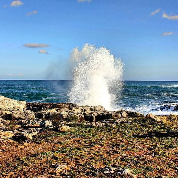 Water explosion! Italy Sicily Siracusa Ognina Water Blu Blusky Sea Windyday Explosion Power Waves Nature LoveNature Naturepower Wearenothing