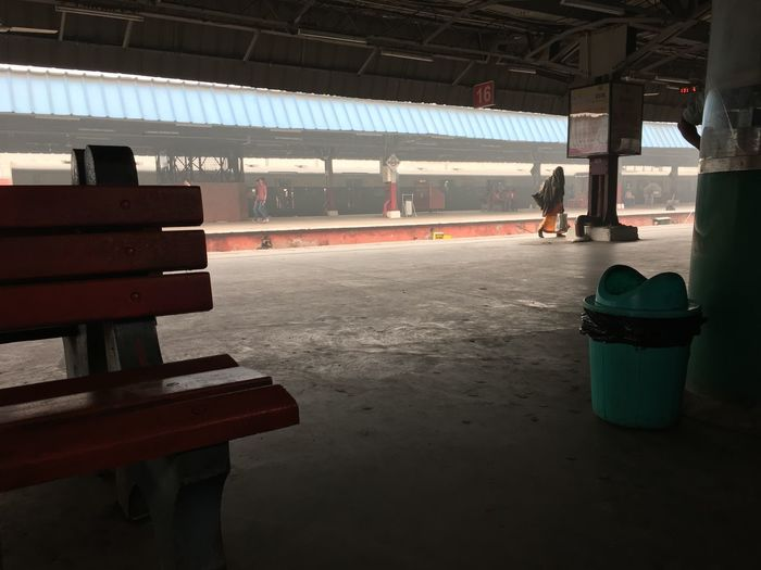 On a foggy winter morning ...an empty railway platform which is usually crowded . A lone man is the sole human presence here Architecture Built Structure Day Empty Fog Indoors  Lone Man Mist Madness New Delhi Railway Station No Crowds Railroad Station Platform Waiting For Trains Winter Morning