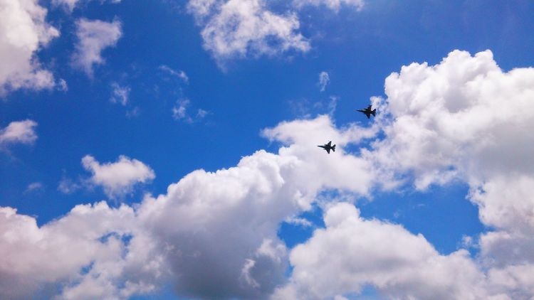 F16fightingfalcon Flying Airplane Cloud - Sky Airshow Air Vehicle Low Angle View Sky Outdoors No People Day Fighter Plane Aerobatics Air Force