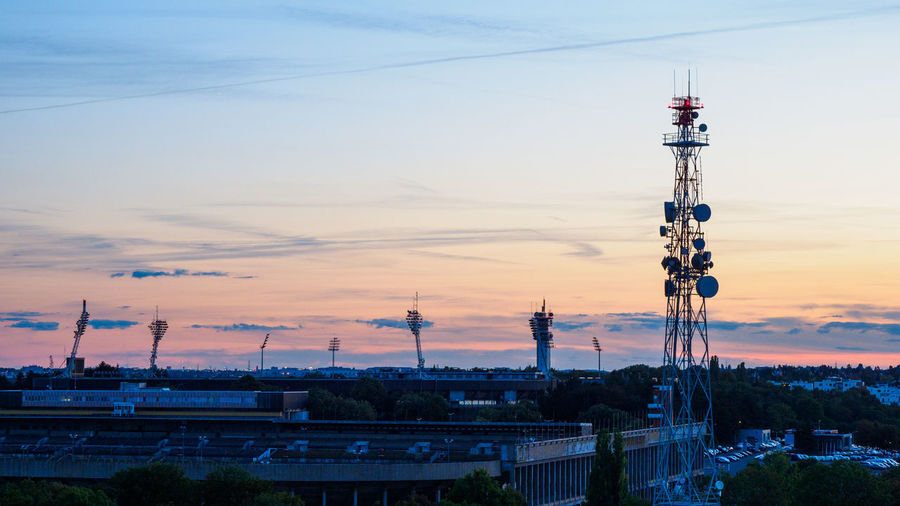 Prague Transmission Towesr at Sunset Technology Sky Sunset Tower Communication Connection Architecture No People Nature Global Communications Cloud - Sky Outdoors Transmission Tower Transmission