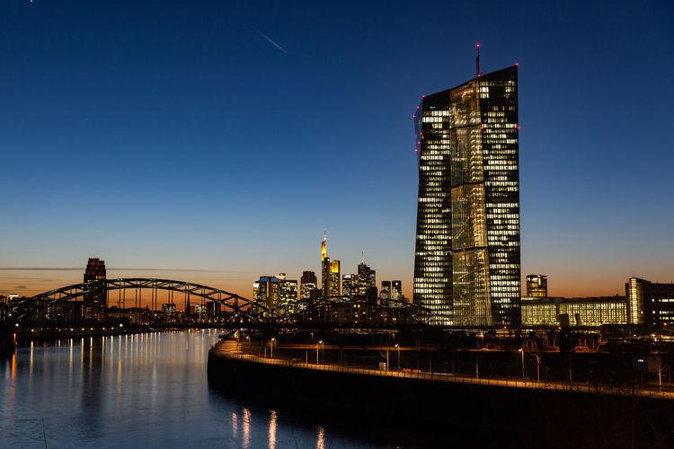 European central bank ecb  with financial district frankfurt