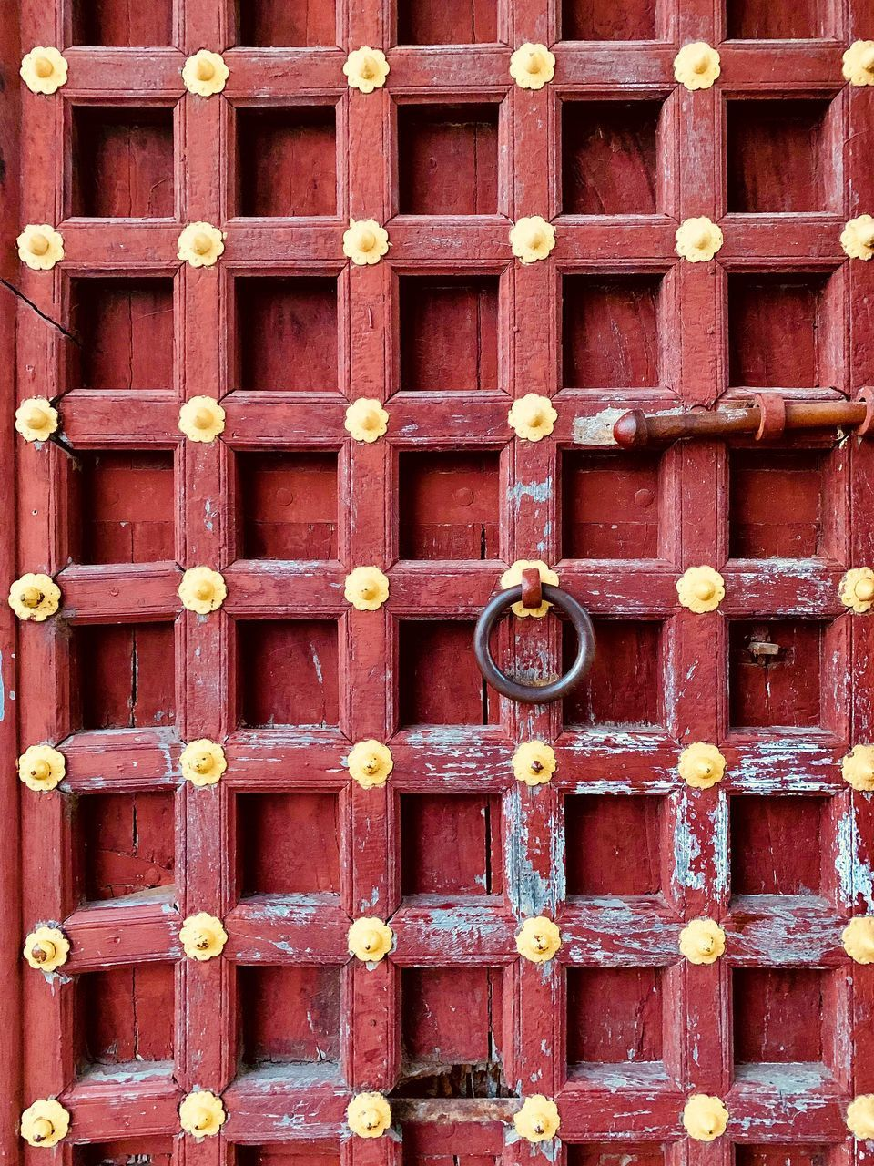 red, wood - material, backgrounds, full frame, no people, architecture, door, entrance, day, built structure, outdoors, safety, security, close-up, building exterior, protection, metal, closed, in a row, pattern