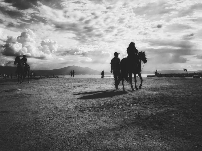 Jalisco Chapala Visitajalisco Sky Group Of People Cloud - Sky Real People Men Domestic Domestic Animals Horse Water Riding Outdoors