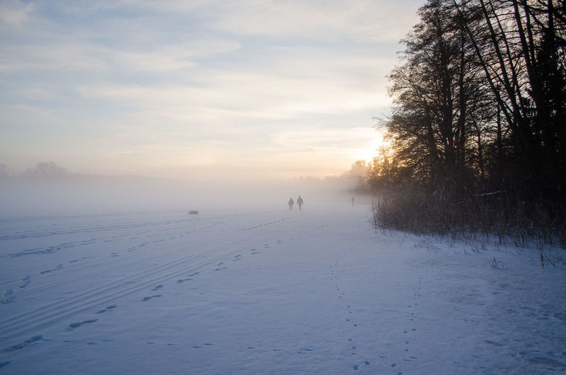 strangers on the foggy lake Beauty In Nature Cold Temperature Fog Frozen Landscape Nature Outdoors Real People Scenics Sky Snow Sunset Tranquil Scene Tranquility Tree Weather Winter