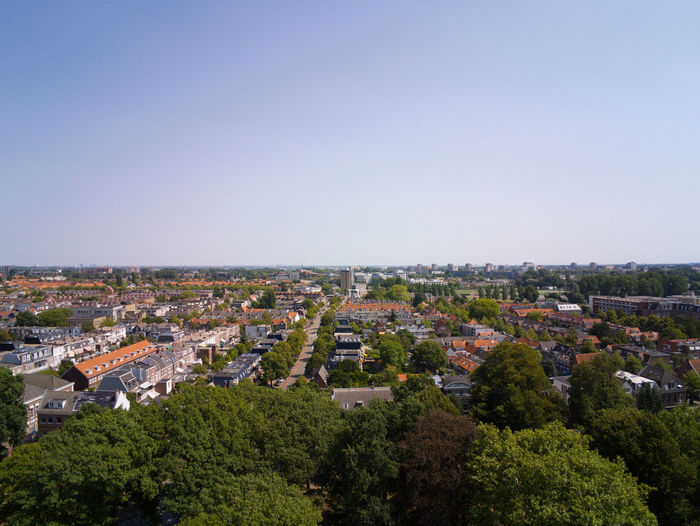 City Architecture Building Exterior Sky Tree Cityscape Built Structure Nature Plant Clear Sky Building High Angle View No People Copy Space Day Residential District Blue Landscape Aerial View Outdoors Haarlem Netherlands Aerial Summer Urban Drone
