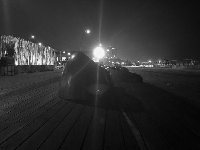 Night scene in the old Tel Aviv harbour. Benches Black & White Dark Empty Illuminated Lit Night Street Light Tel Aviv Port