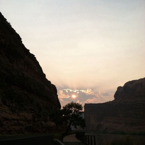 Sunrise and almost to town in Moab Utah. Highway 128 Colorado River Nature Beauty In Nature Sky Scenics Outdoors Scenery Day Landscape Cliff EyeEm Ready