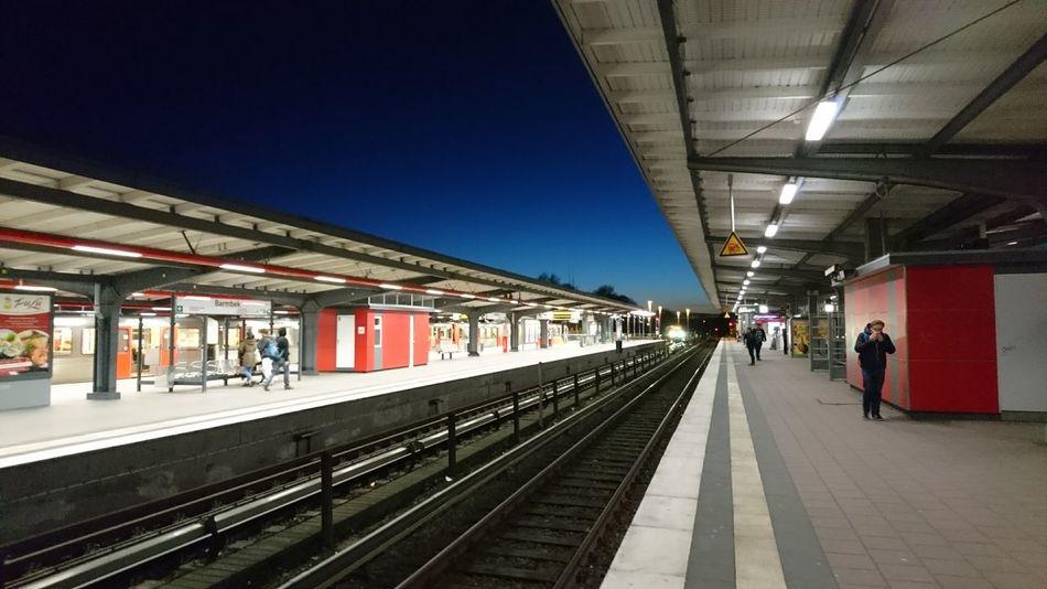 Barmbek Train Station Scene. · Hamburg Germany 040 Hh Metro Public Transport Railway Station Platforms People Architecture Urban Landscape Urban Geometry Perpective Horizon Blue Colors