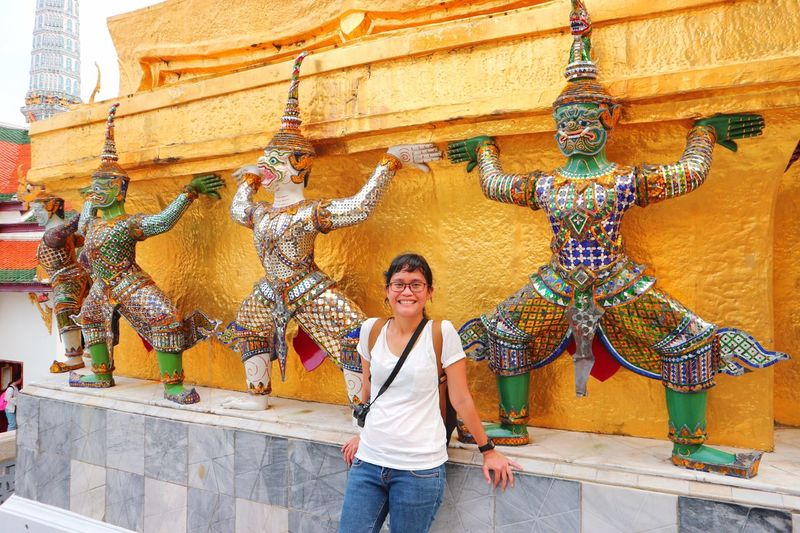 Traveler Woman Solo Solo Traveler Traveler Temple Buddhist Temple EyeEm Selects One Person Young Adult Architecture Casual Clothing Young Women Women Real People Front View Three Quarter Length Adult Lifestyles Decoration Standing Leisure Activity Day Portrait Smiling Built Structure Creativity Outdoors Adventures In The City