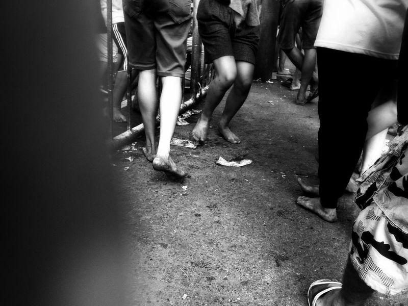 Low Section Human Leg Adults Only Day Human Body Part Adult Men People Women Outdoors Lifestyles Standing Togetherness Only Women Young Adult @eyeemphilippines EyeEm Best Shots - Black + White Monochrome Photograhy Eyeem Philippines Eyeemphonephotography EyeEm Bnw EyeEm Gallery EyeemPhilippines Mobilephotography Eyeem Philippiness Traslacion 2018 Barefoot