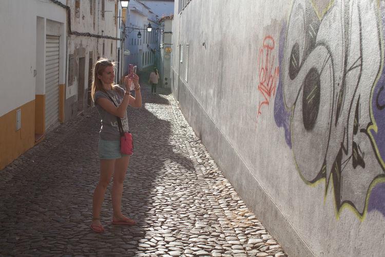Graffiti Photographer Smartphonephotography Street Sun Women Young Adult Young Women