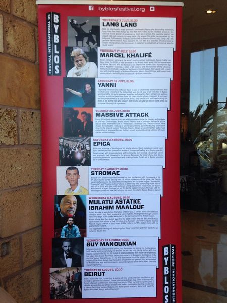 The 2014 programm of the Byblos International Festival Lang Lang YANNI Stromae Massive Attack