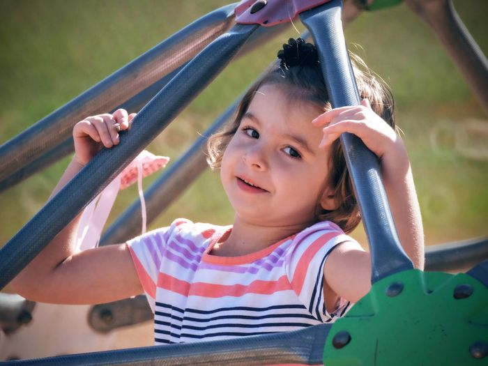 Portrait Of Girl In Playground