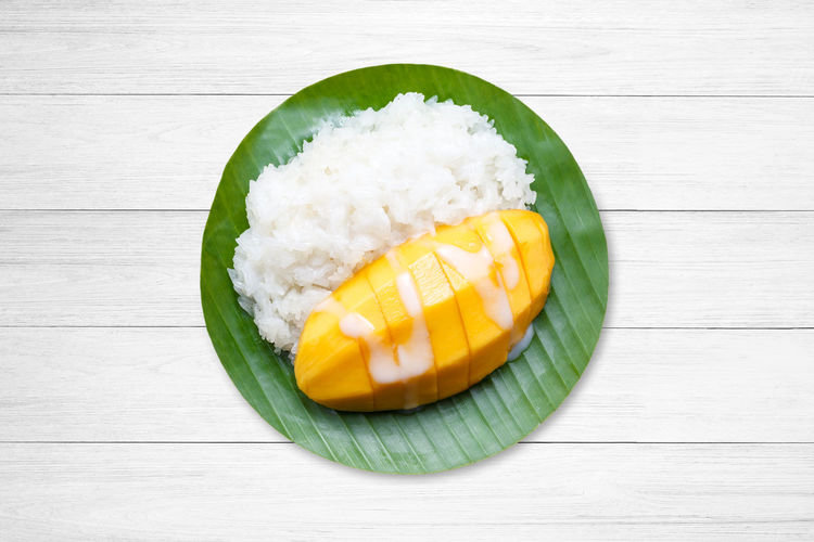 Mango Coconut Rice Thailand Milk Tropical Dessert Sweet Organic Yellow Culture Gourmet ASIA Thai Color Sticky Sugar Glutinous Style Fruit Fresh Nature Food Nut Asian