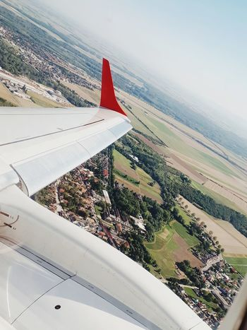 Airplane Aerial View Transportation Air Vehicle Flying Aircraft Wing Austrian Airlines Embraer E95 Plane Travel Journey Airport Cloud - Sky No People Looking Through Window Outdoors Travel Destinations Sky Traveling Sky Photography Beautiful Like4follow Like4like Austria ❤ Vienna