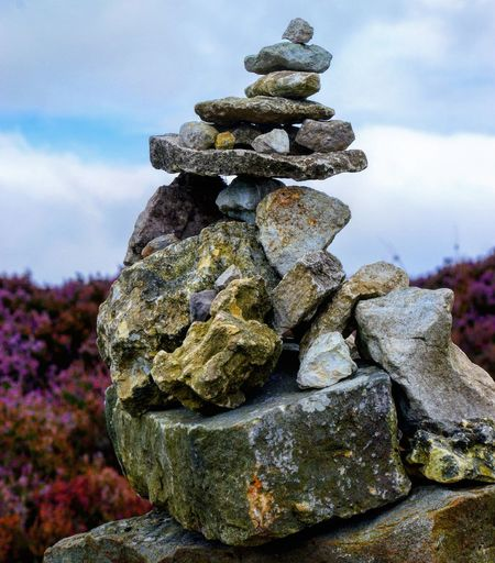 Tumulus Stack No People Nature Outdoors Day Sky Close-up Travel Travel Photography Stones Stone Rock Walk Cleveland Way Yorkshire Moors Heather Pile Of Stones Perspectives On Nature