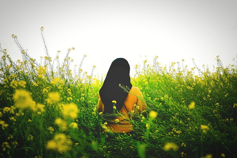 Woman with yellow flowers on field against sky