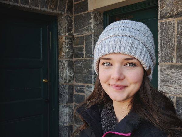 Natural Beauty Portrait EyeEmSelect Google Google Pixel 2 Young Women Warm Clothing Portrait Beautiful Woman Looking At Camera Winter Headshot Smiling Front View Door Entryway Arched Doorway Wall Exterior