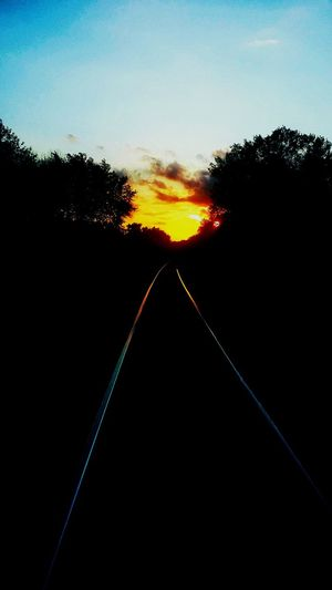 Railroad Tracks Sunset Sillouette Eyeem Photo