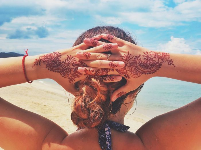 Island life Paradise Beach Paradise Swimsuit Mahendi Henna Hands Sky Real People Beach Land Sea Lifestyles Cloud - Sky Water Sunlight