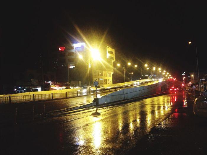 Darkness And Light Car Lights Rainy Window Night In The Car Driving Salim Street Slemani Kurdistan Xasraw Xal Bridge