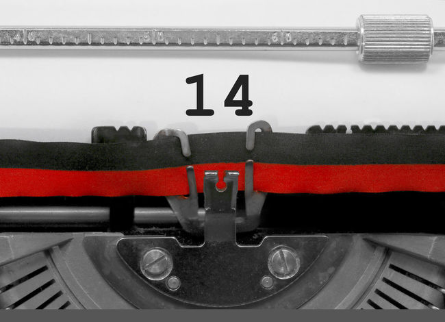 14 Number by the old typewriter 14 BIG Fourteen Fourteenth NR Numbers Only Retro Text Type Writer Word Writing Backgrounds Nostalgia Number Numbers Numeral Numerals Numeric Page Single Typewriter Typewriting Typing Vintage Written