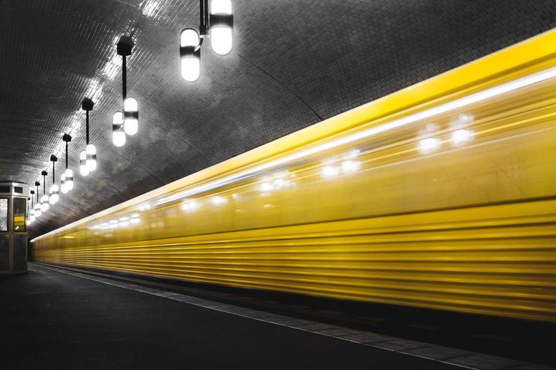 Illuminated Transportation Lighting Equipment Indoors  Public Transportation Subway Station Yellow No People Subway Train Architecture Berlin Ubahn Capture Berlin