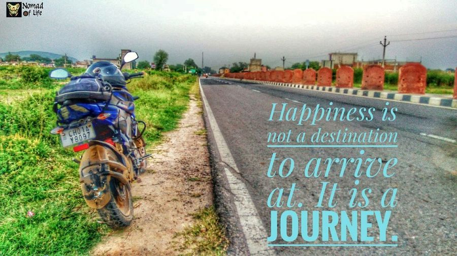 Happiness is a journey... Agriculture Text Day Rural Scene Outdoors No People Growth Nature Sky Travelquotes Quotes Built Structure Biker Bikes Caferacer Bikelife Motorcycle Roadtrip Highwayphotography Hardwork Travelphotography Traveldiaries Dramatic Sky Sunset Silhouettes