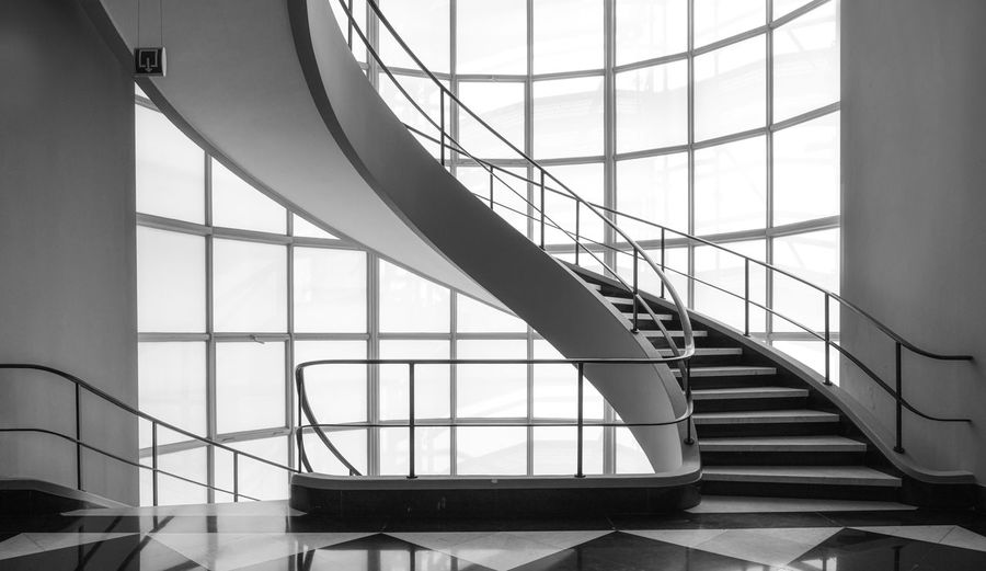 Design staircase black and white Architecture Built Structure Indoors  Railing Staircase Day Glass - Material Pattern No People Modern Window Building Transparent Steps And Staircases Design Wall - Building Feature Bnw Indoors