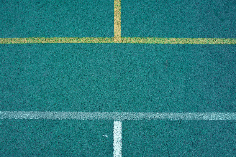 High angle view of markings on basketball turf