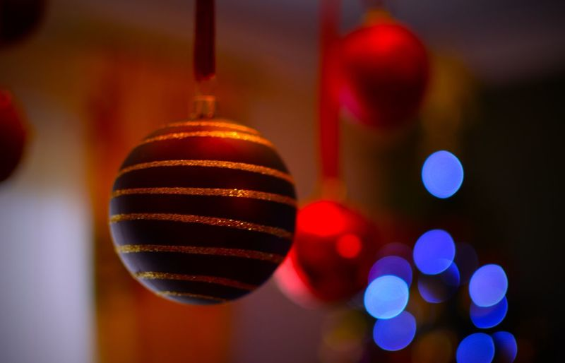Close-Up Of Christmas Bauble Against Blurred Background