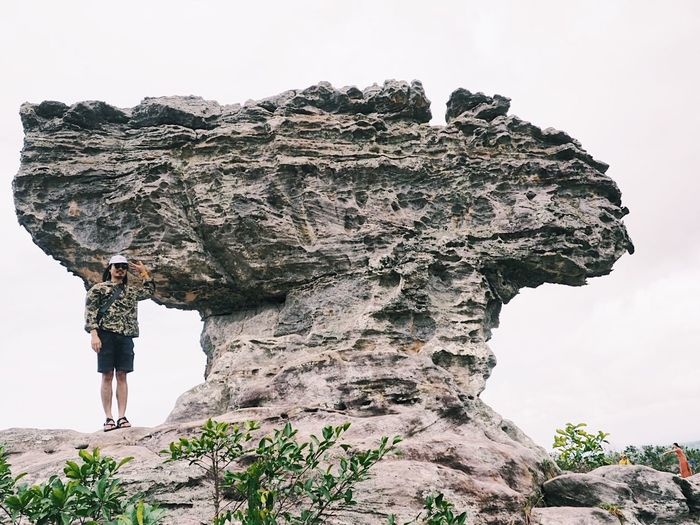 Sky Nature Day Real People Lifestyles Plant Tree Rock - Object Rock Clear Sky Outdoors One Person Standing