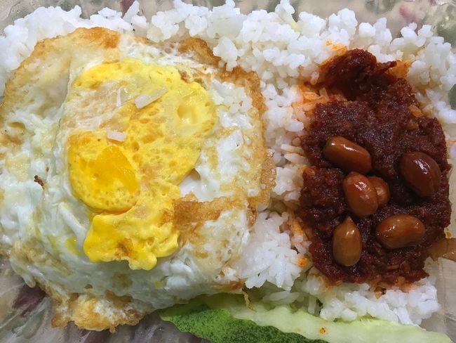 Nasi lemak Nasi Lemak Traditionalfood Malaysian Food Egg Sambal Food Food Photography Close Up IPhone 6s Plus ASIA Malaysia IPhone Photography Rice Paddy