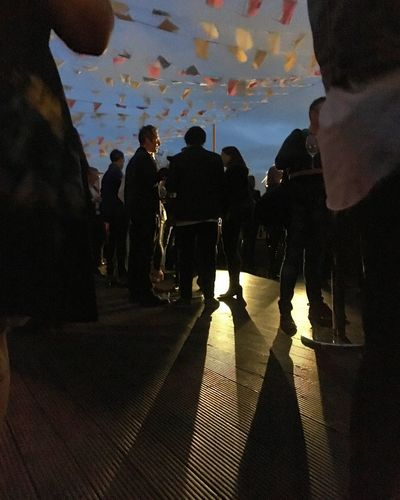 Rooftop Party Aqua Nueva Bunting People Party Rooftop Group Of People Real People Crowd Leisure Activity Men Large Group Of People Lifestyles Shadow Silhouette Illuminated