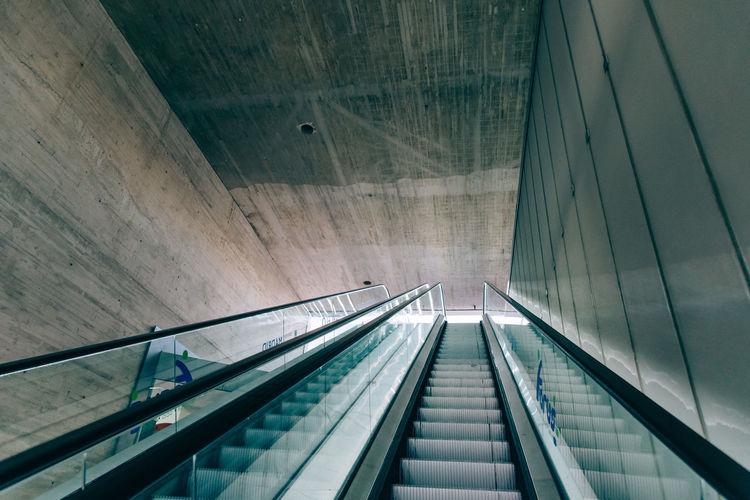 Low angle view of escalators at subway station