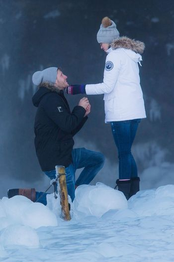 Proposal Of Marriage She Said Yes!<3 Winter Wonderland Snowing Cold Temperature Two People Winter Vacations Bonding
