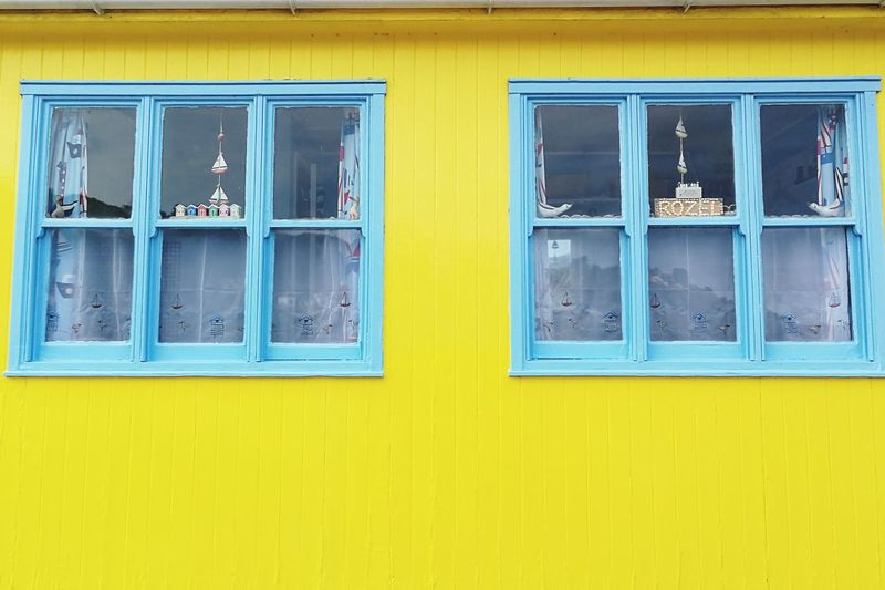 Yellow House Multi Colored Yellow Blue Window Wood - Material Full Frame Closed Close-up Architecture Building Exterior
