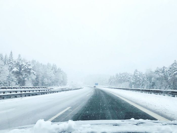 Wintertime Frost Iced Snowfall Snowflake Out Of The Window Alone Roadtrip Winter Cold Temperature Snow Weather Transportation Nature The Way Forward White Color White Frozen Road Snowing Cold Beauty In Nature No People Car Scenics Tree Outdoors Day