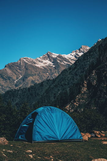 Home! Travel Backpacking EyeEm Selects Mountain Tent Snow Adventure Blue Clear Sky Camping Sky Mountain Range Landscape Mountain Peak Snowcapped Mountain Wilderness